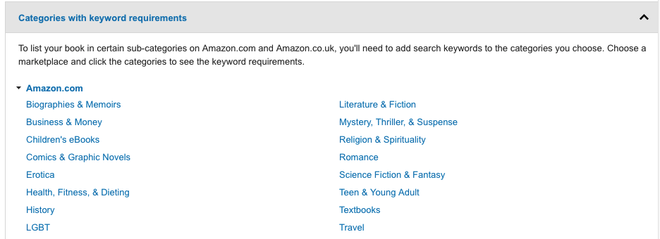 Amazon categories with keywords