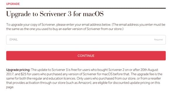 Enter Email to upgrade Scrivener