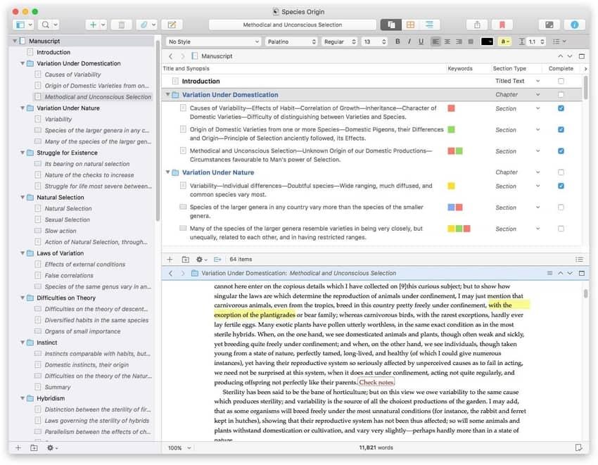 Scrivener's outline feature