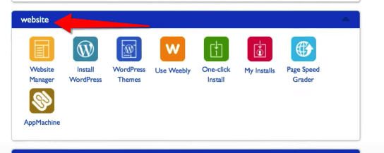 Website Section of Bluehost cPanel Banner to Install WordPress